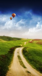 Old road and a hot air balloon Galaxy S5 Wallpapers