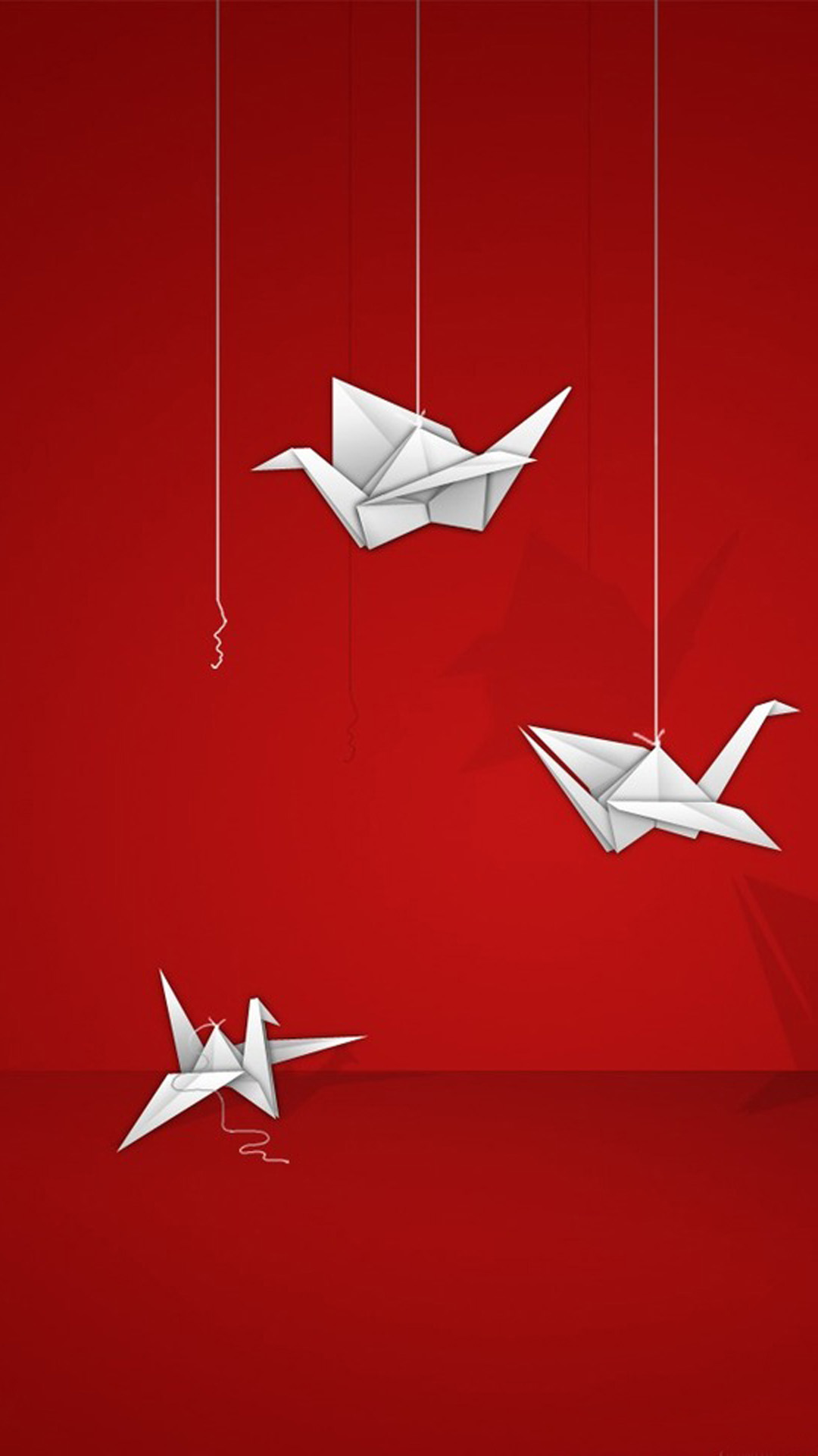 Wallpaper iphone red hd - Background Origami Cranes On A Red Hd Wallpaper Iphone 6 Plus