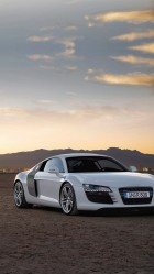 White Audi r8 02 HD Wallpaper iPhone 6 plus